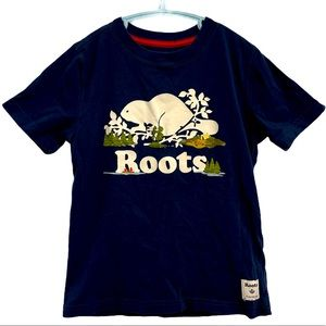 Roots navy blue  100% cotton Tshirt with Beaver S